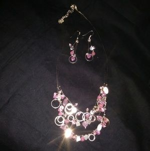 Jewelry - Pretty in Pink Necklace and Earrings